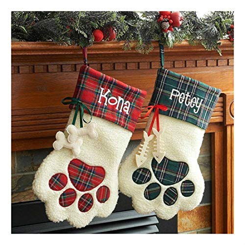 CHRISTMAS STOCKINGS PERSONALIZED DOG CAT PAW FREE NAME MACHINE EMBROIDERY NEW!