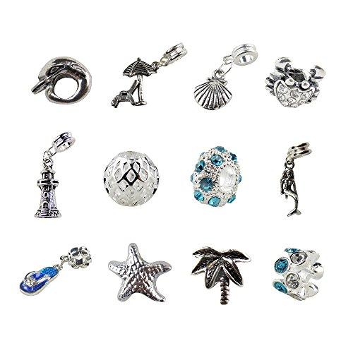 Set of 12 Beach Charms & Beads Lighthouse, Sandal, Dolphin, Whale, Starfish, Palm Tree, Mermaid, Crab