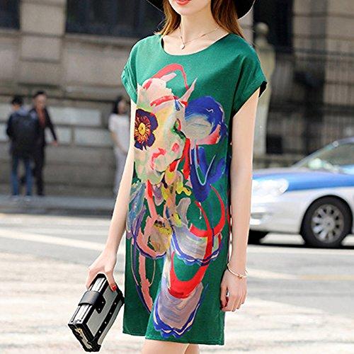 Kleid Flowered DISSA Cocktail S9939 Abendkleid Übergröße Grün Seide Midi Kleider Damen OwU0nUZ