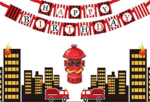 AOFOTO 6x4ft Happy Birthday Background Party Decoration Banner Photography Backdrop City Buildings Fire Rescue Fireman Fire Engine Hydrant Fireplug Kid Child Boy Photo Studio Props Vinyl Wallpaper ()