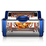 NutriChef Digital Countertop Rotisserie - Grill Oven Rotating Roaster Oven Stain Resistant Stainless Steel, Tempered Glass Includes Kebob Rack with 7 Skewers (PKRTVG65BL), Blue/Chrome