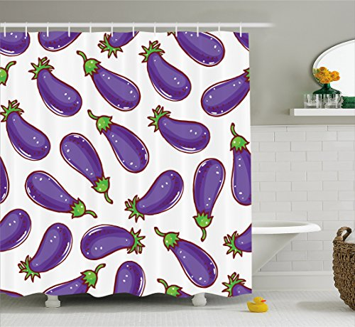 Eggplant Shower Curtain by Ambesonne, Cute Eggplants with White Spots on a White Background Healthy Foods Eating Green, Fabric Bathroom Decor Set with Hooks, 105 Inches Extra Wide, Purple White
