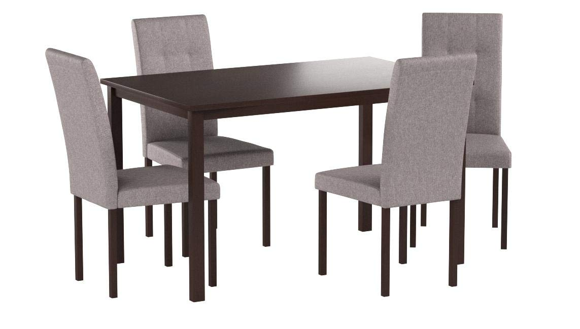 Baxton Studio 5 Piece Andrew Modern and Contemporary Fabric Upholstered Grid-Tufting Dining Set, Gray