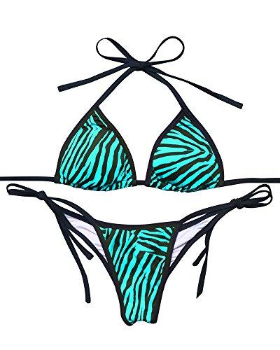 Animal Womens Swimsuit Bottom - MOOSKINI Women Sexy Zebra Print Bikini Set Top Tie Bottom Halter Padded Swimsuit (S, Green)