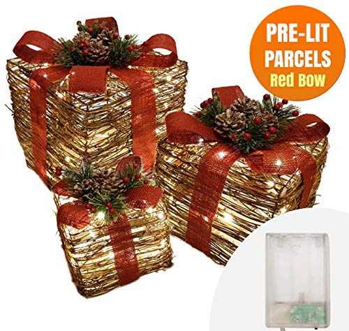 Battery Operated 3 Light Up Christmas Parcels Decorative Pre-Lit LED Boxes