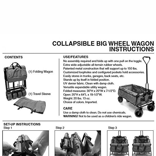 Amazon Collapsible Big Wheel Wagon Outdoor Folding Wagon