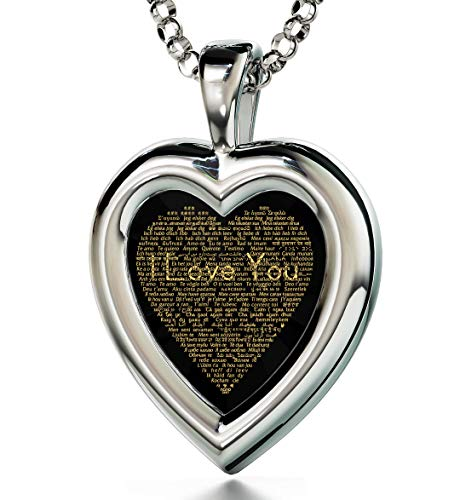 Nano Jewelry 925 Sterling Silver Heart Pendant I Love You Necklace 120 Languages Inscribed Black Cubic Zirconia, 18