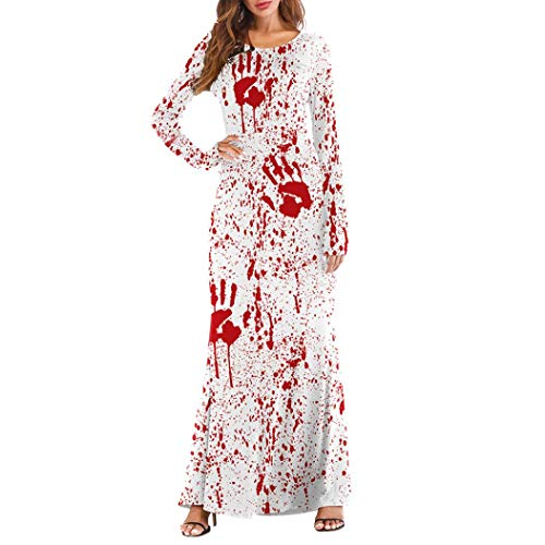 iYBUIA Halloween 3D Print Party Dresses Women Three Quarter Sleeve Pumpkins Casual Long Maxi Dresses(White,S)