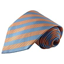 Light Blue and Orange Geometric Stripe Silk Necktie