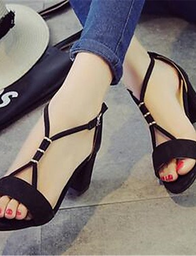 GGX/Damen Schuhe PU Sommer Heels Heels Casual geschoben Ferse andere schwarz/grau black-us7.5 / eu38 / uk5.5 / cn38
