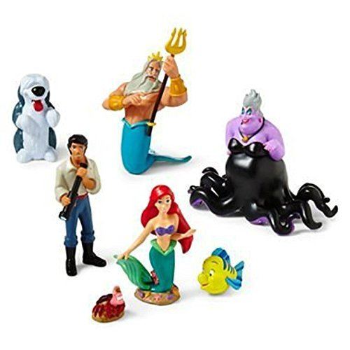 Disney Little Mermaid Figure Play Set - Princess Ariel Figurine Cake Toppers Decorative Playset