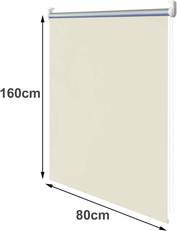 160cm wolketon Blackout Thermal Roller Blind Fen/être Store 100/% Blackout sans per/çage//Outils requis avec des raccords pour Un Sommeil,Beige,50