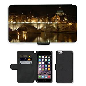 """Hot Style Cell Phone Card Slot PU Leather Wallet Case // M00169825 St Peters Basilica Rome Night // Apple iPhone 6 4.7"""""""