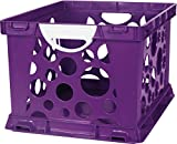 Storex 2-Color Large Crate with Handles, Purple Vine/White
