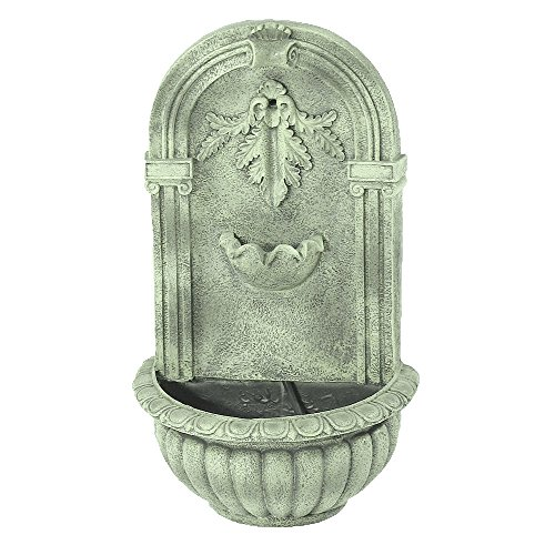 Sunnydaze Florence Outdoor Wall Fountain, French Limestone Finish, 27 Inch Tall