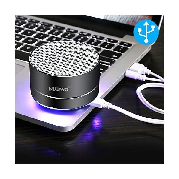 Enceinte Bluetooth, NUBWO A2 Enceinte Bluetooth Mini Portable de Voyage, Enceinte sans Fil avec des Basses Enforcées et des Appels en Mains Libres, Fonctionne avec iPhone, iPad, Samsung - Noir 7