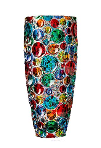 Bubbles vase 355 multicolor hand painted crystal glass Murano Style ()