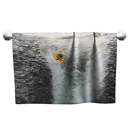 (xixiBO Easter Towel W20 x L20 Waterfall,Photo of Man Kayaking in Canoe Flowing Wild Water Nature Extreme Outdoors Print, Multicolor Hand/Guest Towel)