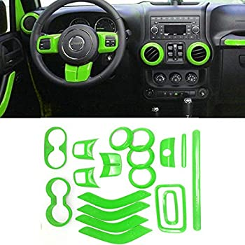 Carbon Fiber WeifangInspire Fits for Jeep Wrangler 2011-2017 4 Door 18pcs Full Set Interior Decoration Trim Kit,Door Handle Cover Inner,Center Console Air Outlet Trim