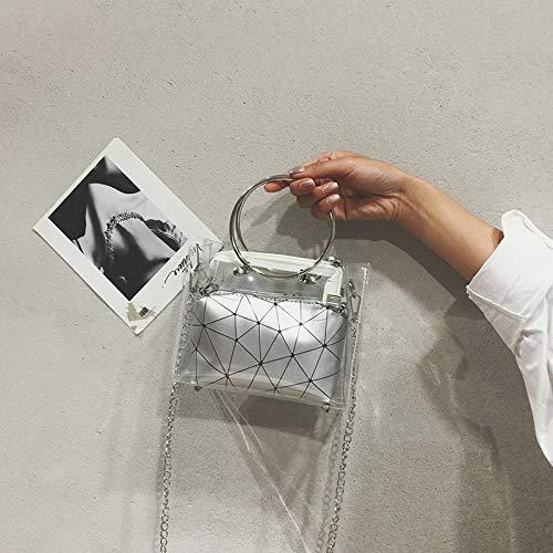 géométrique chaîne Sac grand Femme Argent Messenger Sac Sac Main Petit d'été Transparent Version Mode à la Sauvage coréenne de épaule WSLMHH Sac ZAHw1Fdqw