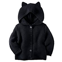 Carter's Baby Girls' Hooded Kitten Cardigan (18 Months, Black)