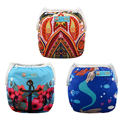 ALVABABY 2 PCS One Size Reuseable Washable Infants Swim Diapers Adjustable & Stylish Fits for Babies 0-2 Years Old (3SW07, one Size (0-2 Years Old) from ALVABABY