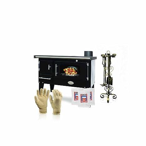 Cocina de leña Zvezda, modelo Narodna E; negra, salida de calor