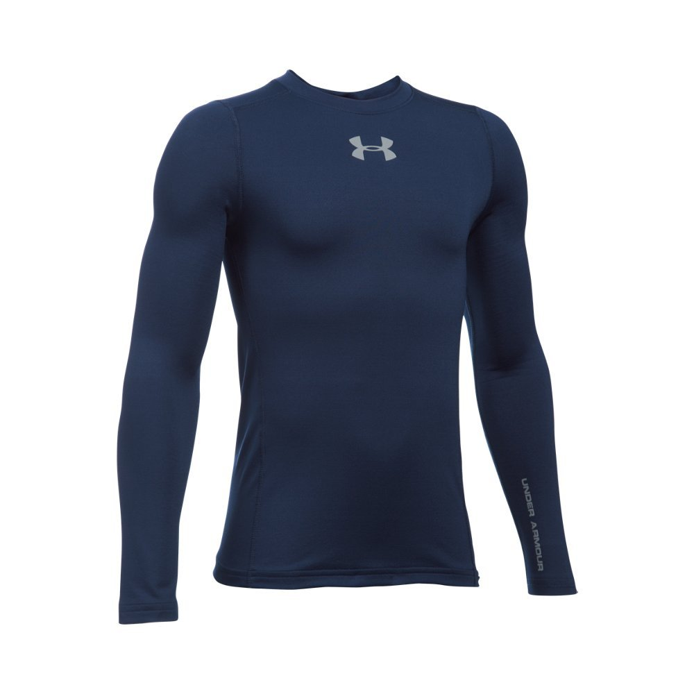 Under Armour Boys' ColdGear Armour Crew, Midnight Navy /Steel, Youth Small by Under Armour