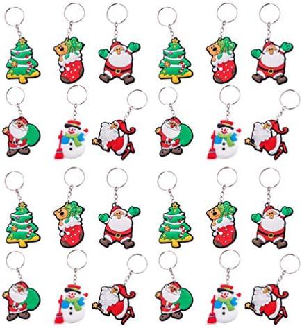 30ピースクリスマスキーホルダーサンタキーリングペンダントクリスマスホリデーパーティー用品好意ギフトグッディバッグフィッター(混合)