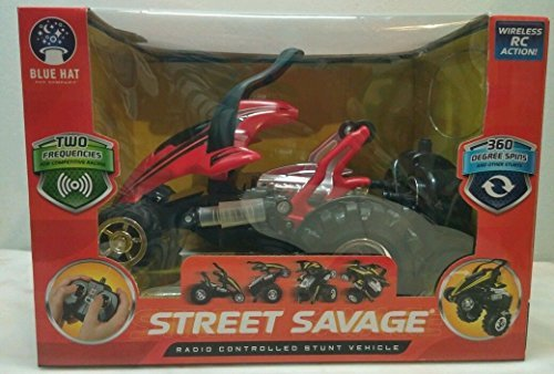 Street savage Radio Controlled Stunt Vehicle 360 Degree spins 49 MHz Red and Black Striped (2015) by Street savage Radio Controlled Stunt Vehicle