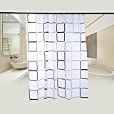 XL LARGE EXTRA LONG WIDE BLACK SILVER WHITE SHOWER CURTAIN 180 200cm