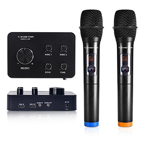 Sound Town 16 Channels Wireless Karaoke Mixer System with Bluetooth, HDMI, AUX and 2 Handheld Microphones, Works with TV, PC, Home Theater and More (SWM15-HBT) - Karaoke Mixer Machine