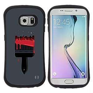 """Hypernova Slim Fit Dual Barniz Protector Caso Case Funda Para Samsung Galaxy S6 EDGE [Cepillo Rojo Sangre Pintor Gris""""]"""