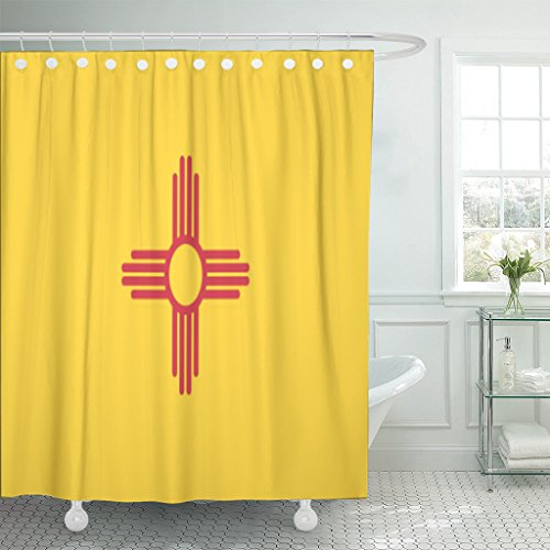 Santa Fe Shower Curtain Hooks - TOMPOP Shower Curtain Albuquerque New Mexico State Flag Symbol Graphic Waterproof Polyester Fabric 60 x 72 inches Set with Hooks