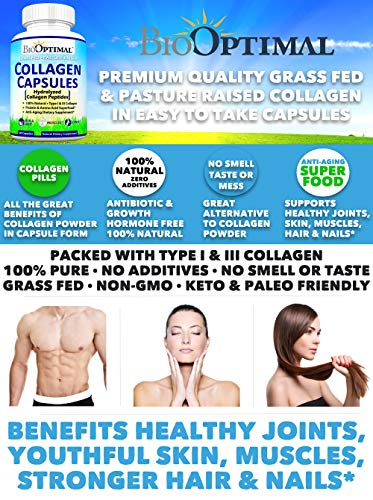 51k5qD8r2zL - BioOptimal Collagen Pills - Collagen Supplements, Grass Fed, 180 Capsules, Non-GMO, for Women & Men, Benefits Skin, Hair, Nails & Joints, Collagen Capsules, Premium Quality