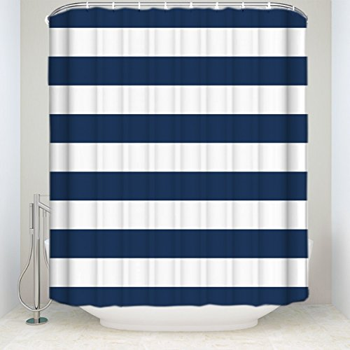 Fabric Shower Curtain: Nautical Stripe Design (Navy and White)