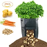 HNRLOY Garden Planter Bag (2-pack) – Grow Vegetables,Potato, Carrot, Tomato,Onion - Plant Tub with Access Flap for Harvesting - Eco-Friendly - Heavy Duty Durable Bags