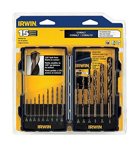 - IRWIN Industrial Tools 316015 Cobalt Drill Bit Set, 15-Piece