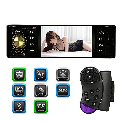 KKmoon Autoradio / Moniceiver mit Bluetooth+ 4.1-Zoll-TFT-Bildschirm für HD-Digital + FM/MP5 + USB port angegeben-Karten-Slot, Aux-Eingang + Hintere Ansicht Kameraeingang + Lenkradfernbedienung