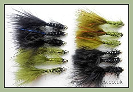 Cats Whiskers,Trout Flies 12 Pack Blue and Red Flash Fishing flies Size 10