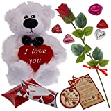 Prextex Valentine's Day Gift Set Including Valentine Red Rose, Wooden Valentine Card Ornament, Gift Boxes and More