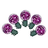 Vickerman Set of 25 Pink LED G40 Tinsel Christmas Lights - Green Wire
