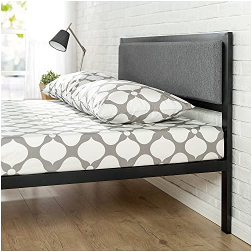 Zinus Korey 14″ Steel Platform Bed Frame with Upholstered Headboard and Wood Slat Support, Twin