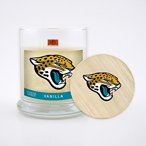 Worthy Promo NFL Jacksonville Jaguars Vanilla Scented Soy Wax Candle, Wood Wick and Lid, 8 oz