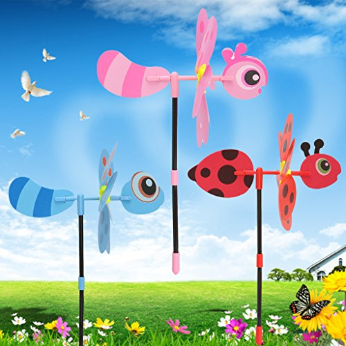 Upupo 10pcs Pack 3D Cartoon Bee Pinwheel of Kids Toy, Windmill Toy of Party Garden Decoration Kids Gift Color Random by Upupo