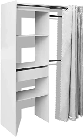 vidaXL Armario Ropero con Cortina Ajustable en Anchura 121-168 cm Color Blanco: Amazon.es: Hogar