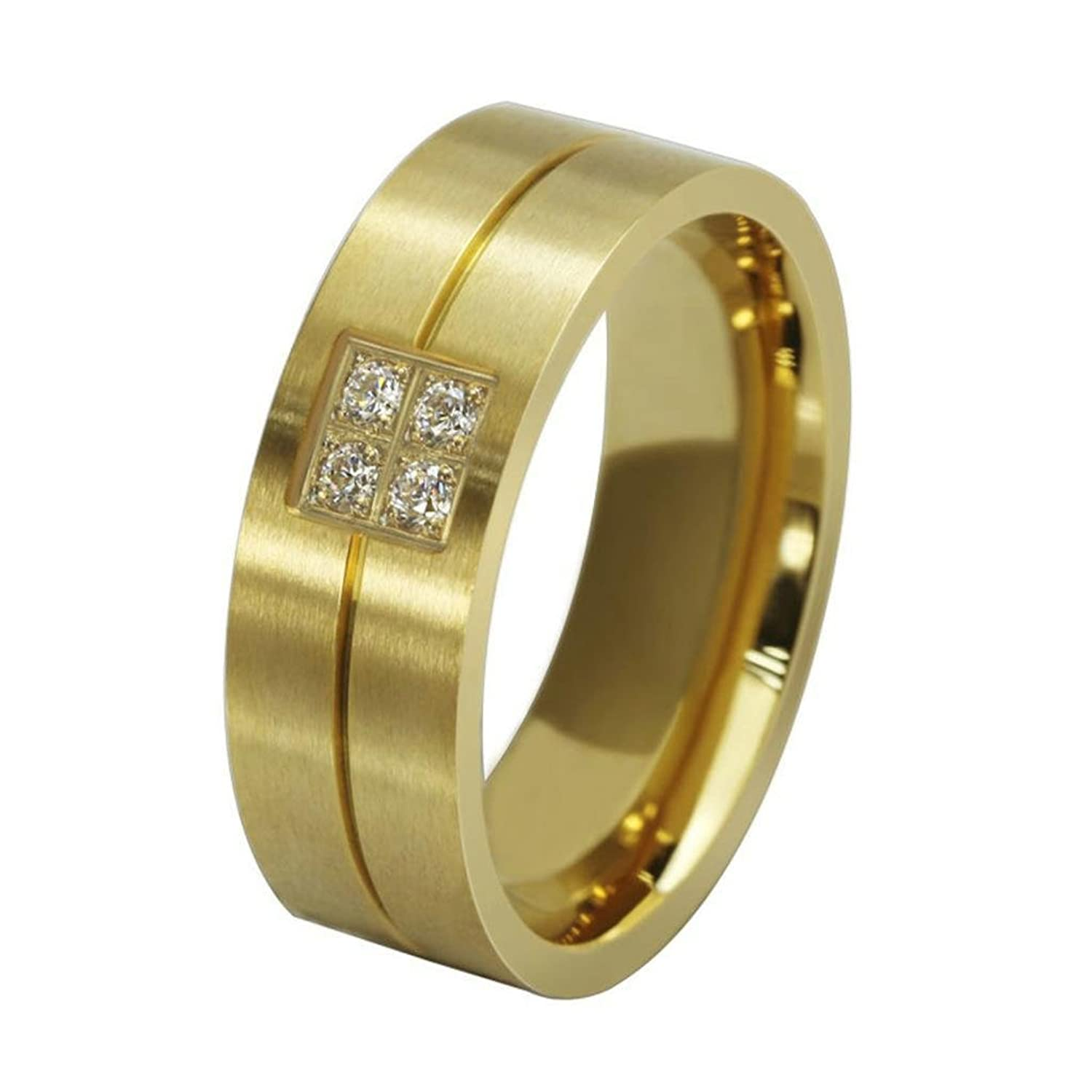 AMDXD Jewelry 18K Gold Plated Titanium Steel Men's Fashion Rings CZ Frosting Golden