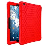AT&T Primetime Case - Fintie [Honey Comb Series] Light Weight Shock Proof Silicone Protective Cover [Anti Slip] [Kids Friendly] for 2017 ATT Primetime/ZTE K92 Primetime 10'' Tablet, Red