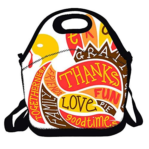 Feddiy Thanksgiving-Feast-clipart Lunch Bags 100% Polyester School Grocery Bags For Travel And Picnic Insulated Lunch Box