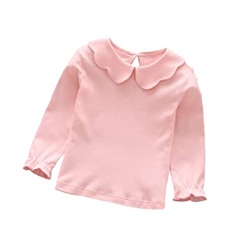 b4045052 Butterfly Iron Doll Collar Toddler Baby Girls Long Sleeves T-Shirts Spring Peter  Pan Collar